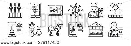 12 Set Of Linear Smart Farm Icons. Thin Outline Icons Such As Farmer, Pest, Data, Farmer, Growth, In
