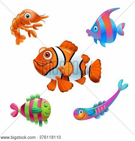 Vector Fish On A White Background. Cartoon Fish Characters. Isolated Fish On A White Background. Sea