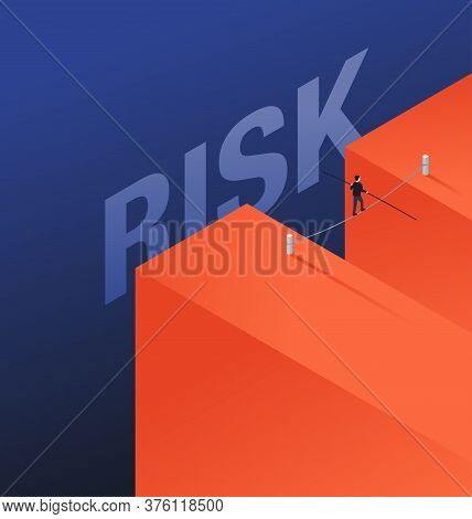 Business Risk And Professional Strategy Concept - Businessman Walks Over Dangerous Gap As Tightrope