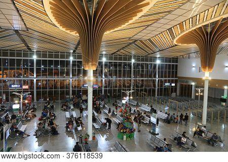Puerto Princesa, Philippines - December 6, 2017: People Wait At Puerto Princesa Airport, Palawan Isl