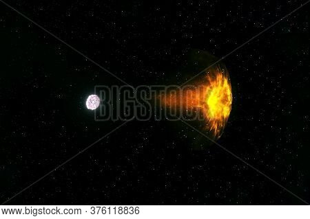 A Neutron Star Pulls A Star. Elements Of This Image Were Furnished By Nasa.