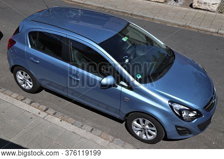 Nuremberg, Germany - May 7, 2018: Opel Corsa Compact Economy Car Parked In Germany. There Were 45.8