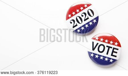 Vote Buttons Badge Isolated On White Background, 2020 Us Elections, Panorama, Copy Space