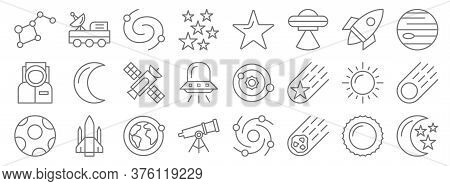 Space Line Icons. Linear Set. Quality Vector Line Set Such As Moon And Stars, Asteroid, Telescope, M