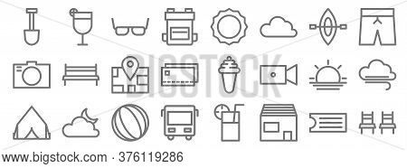 Holiday Line Icons. Linear Set. Quality Vector Line Set Such As Chairs, Lodge, Bus, Tent, Sunset, Ma