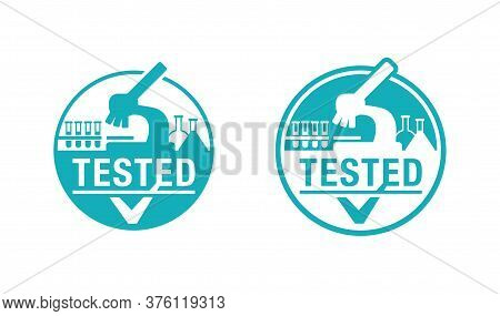 Lab Tested Sign - Laboratory Equipment (testing Flasks And Microscope) Intergated In Stamp Circle -