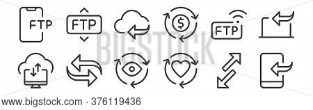 12 Set Of Linear Data Transfer Icons. Thin Outline Icons Such As Transfer, Like, Transfer, Wireless,