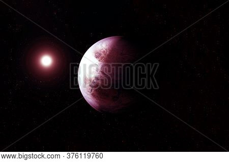 Exoplanet In A Far Dark Space. Elements Of This Image Were Furnished By Nasa.