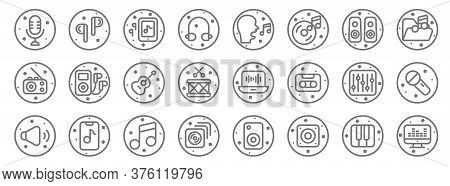 Music And Sound Line Icons. Linear Set. Quality Vector Line Set Such As Sound Mixer, Speaker, Cds, S