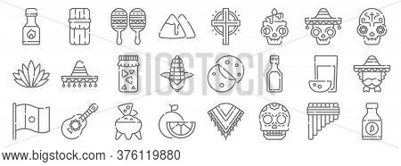 Mexico Line Icons. Linear Set. Quality Vector Line Set Such As Chili Sauce, Skull, Lime, Mexico, Pul