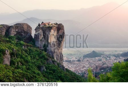 Wonderful Panoramic View Meteora Monasteries, The Holy Monastery Of Roussanou At Foreground, Greece