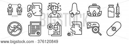 12 Set Of Linear Pandemic Icons. Thin Outline Icons Such As Antivirus, Cough, News Report, Cooking,