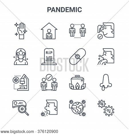 Set Of 16 Pandemic Concept Vector Line Icons. 64x64 Thin Stroke Icons Such As Stay At Home, Patients
