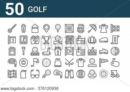 Set Of 50 Golf Icons. Outline Thin Line Icons Such As Golf Cart, Map, Driver, Practice, Tee, Divot,