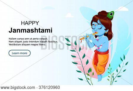 Happy Krishna Janmashtami. Lord Krishna Playing Flute. Happy Janmashtami Festival Of India. Usable F