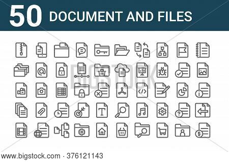 Set Of 50 Document And Files Icons. Outline Thin Line Icons Such As File, Movie, File, Video, Folder
