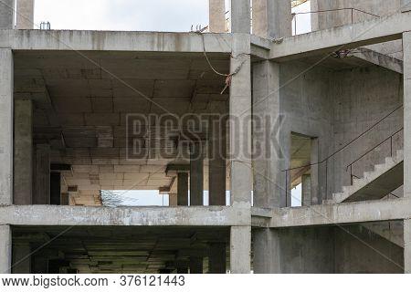 Reinforced Concrete Structures Of A House Under Construction