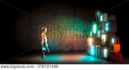 standing child watching a series of turned on vintage televisions. television addiction concept.