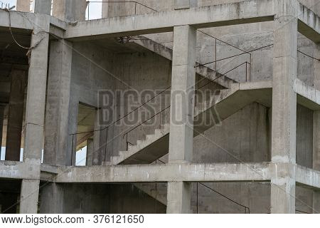 Staircase On A House Under Construction Without Walls.