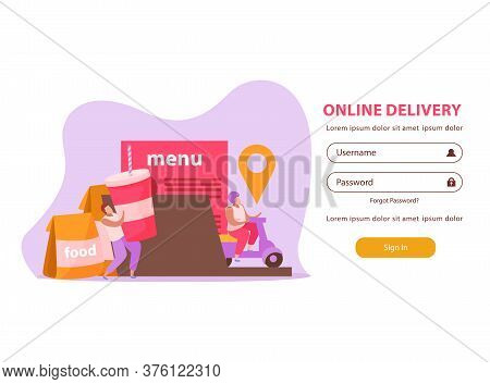Food Delivery Flat Background For Web Authorization Page With Food Couriers Images And Username Pass