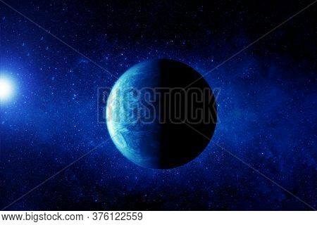 Exoplanet In Deep Space. In Blue. Elements Of This Image Were Furnished By Nasa.