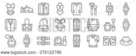 Fashion Line Icons. Linear Set. Quality Vector Line Set Such As Fedora Hat, T Shirt, Make Up, Perfum