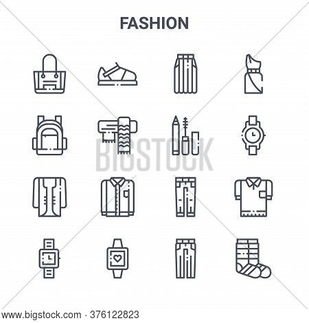 Set Of 16 Fashion Concept Vector Line Icons. 64x64 Thin Stroke Icons Such As Sandal, Backpack, Watch