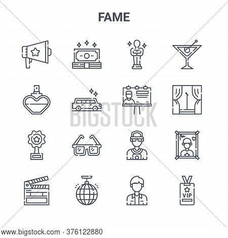 Set Of 16 Fame Concept Vector Line Icons. 64x64 Thin Stroke Icons Such As Money, Perfume, Stage, Pap