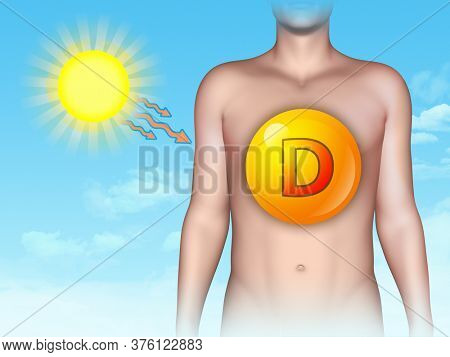Sun exposure and vitamin D. 3D illustration.