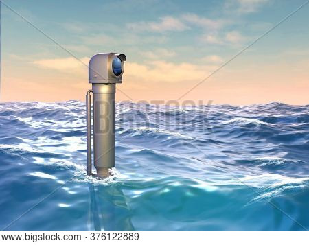 Persicope looking over a wavy water surface. 3D illustration.