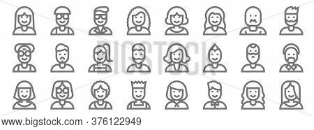 People Line Icons. Linear Set. Quality Vector Line Set Such As Woman, Boy, Boy, Woman, Man, Girl, Ma