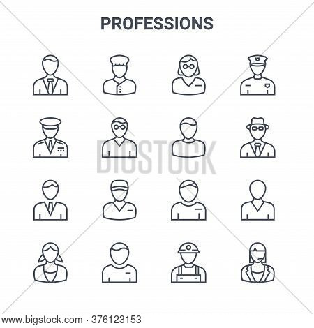 Set Of 16 Professions Concept Vector Line Icons. 64x64 Thin Stroke Icons Such As Baker, Captain, Spy