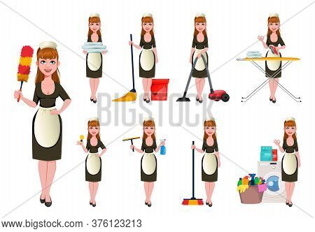 Maid, Cleaning Lady, Smiling Cleaning Woman, Set Of Nine Poses. Cheerful Housemaid Cartoon Character