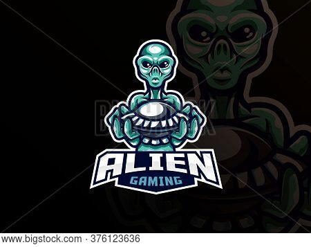 Alien Mascot Sport Logo Design. Ufo And Aliens Mascot Vector Illustration Logo. Unidentified Flying