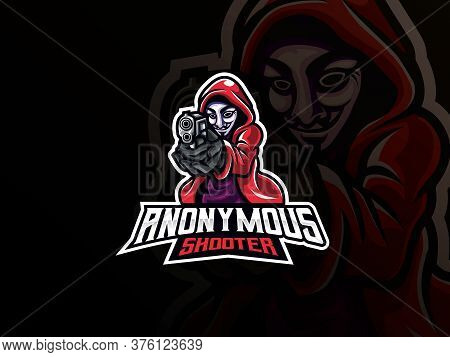 Anonymous Mascot Sport Logo Design. Vector Illustration Logo Person With A Mask. Mysterious Mascot,