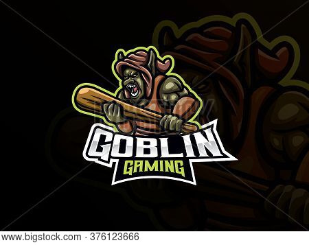 Goblin Mascot Sport Logo Design. Fantasy Creature Mascot Vector Illustration Logo. Monster Goblin Ma