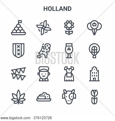 Set Of 16 Holland Concept Vector Line Icons. 64x64 Thin Stroke Icons Such As Windmill, Amsterdam, Br