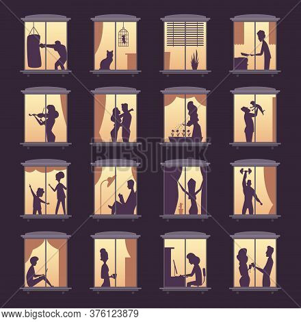 People Window Silhouettes. Lighting In Night House Tower Apartment Buildings Vector Person Silhouett