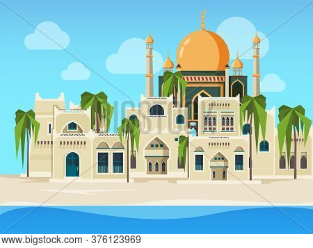 Arabic Landscape. Cultural Muslim Buildings Desert Background With Arabic Architectural Objects Vect
