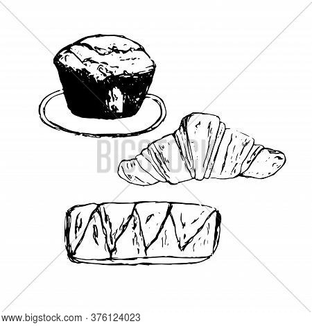Baking Set, Vector Illustration, Muffin, Croissant And Puff Bun, Hand Drawing