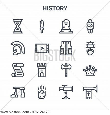 Set Of 16 History Concept Vector Line Icons. 64x64 Thin Stroke Icons Such As Dagger, Roman Helmet, B