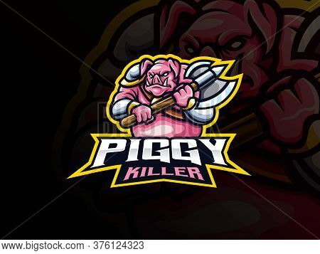 Pig Warrior Mascot Sport Logo Design. Boar Beast Mascot Vector Illustration Logo. Piggy Killer Masco