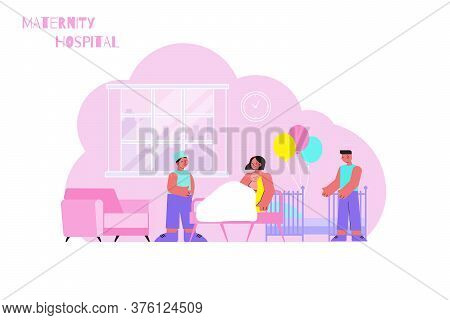 Maternity Hospital Flat Composition With Indoor Scenery Of Mother In Ward With Festive Balloons And