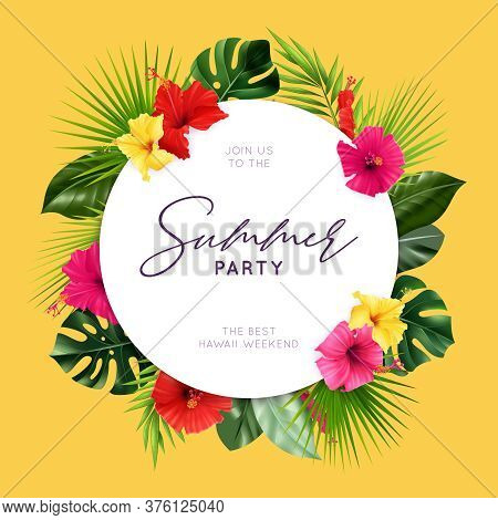 Realistic Hibiscus Composition Of Solid Circle Frame With Editable Text And Tropical Leaves With Col