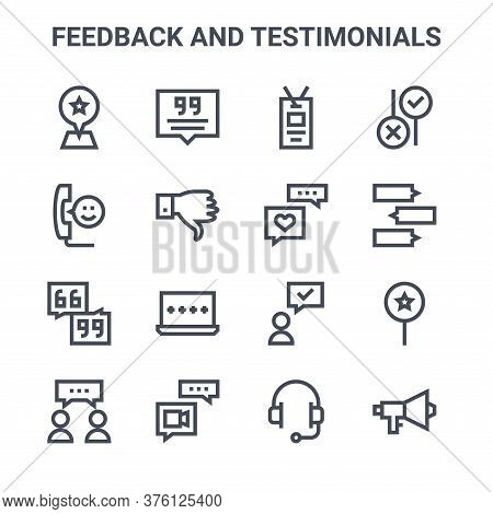 Set Of 16 Feedback And Testimonials Concept Vector Line Icons. 64x64 Thin Stroke Icons Such As Quote