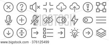 User Interface Line Icons. Linear Set. Quality Vector Line Set Such As Layer, Idea, List, Down, Togg
