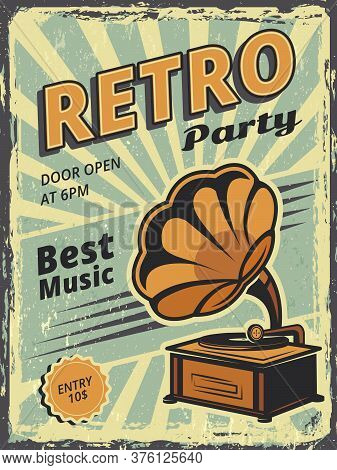 Retro Party. Invitation Poster With Gramophone And Vinyl Records Music Vector Placard. Retro Music I