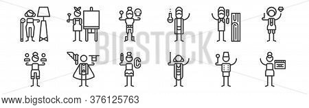 12 Set Of Linear General Arts Icons. Thin Outline Icons Such As Cinema, Conductor, Magician, Woodwor