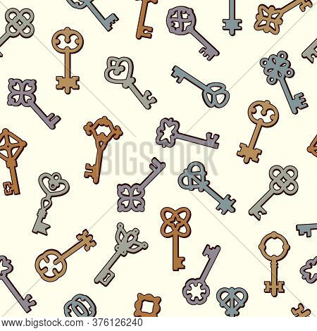 Keys Pattern. Safety Symbols Key Collection In Victorian Style Vector Seamless Background. Symbol Sa