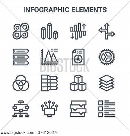 Set Of 16 Infographic Elements Concept Vector Line Icons. 64x64 Thin Stroke Icons Such As Bar Chart,